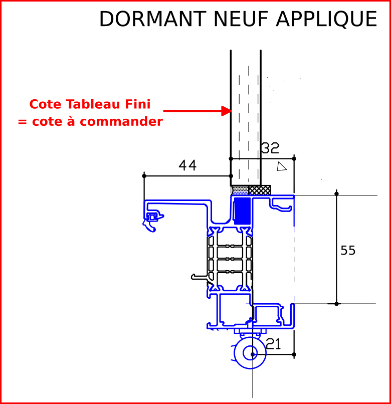 Dormant neuf applique sans tapee